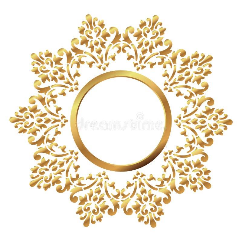 Uitstekend Frame Cirkel barok patroon Rond bloemenornament De kaart van de groet De uitnodiging van het huwelijk Retro stijl Vect royalty-vrije illustratie
