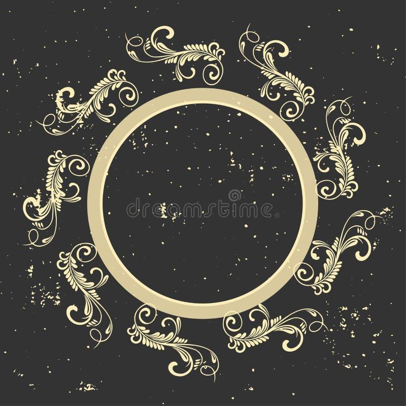 Uitstekend Frame Cirkel barok patroon Rond bloemenornament De kaart van de groet De uitnodiging van het huwelijk Retro stijl Vect stock illustratie
