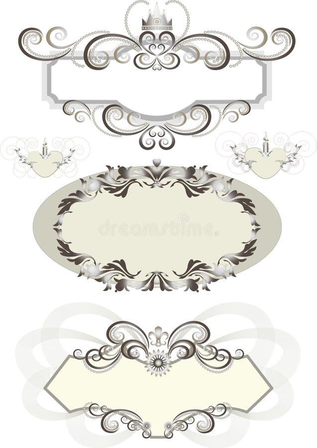 Uitstekend frame dat met kroon en de krommen wordt verfraaid. vector illustratie
