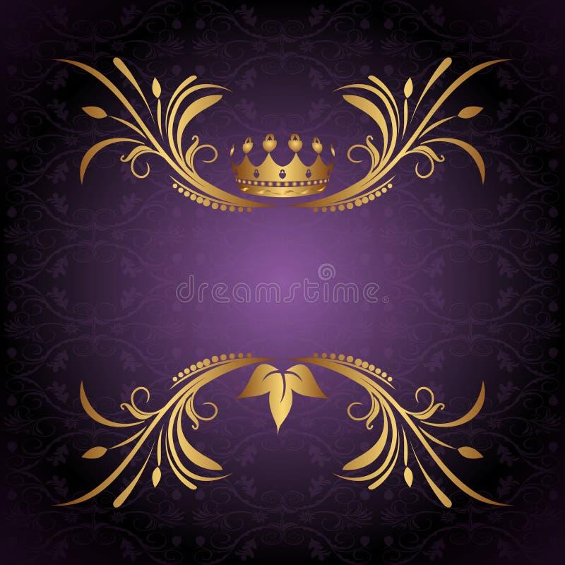 Uitstekend frame met kroon stock illustratie