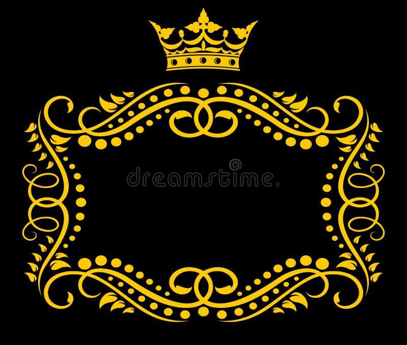Uitstekend frame met kroon vector illustratie