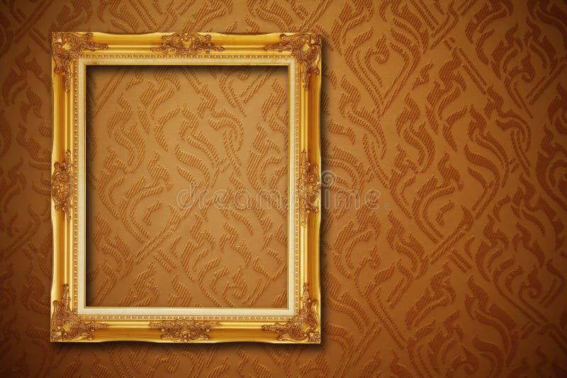 Uitstekend frame op behang royalty-vrije stock afbeeldingen