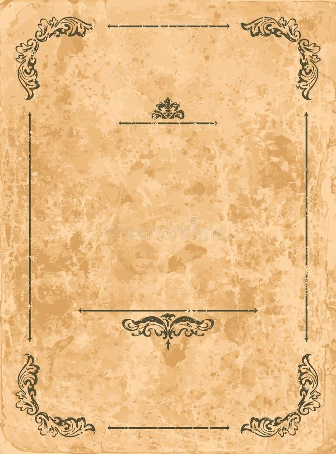 Uitstekend frame op oud document blad stock illustratie