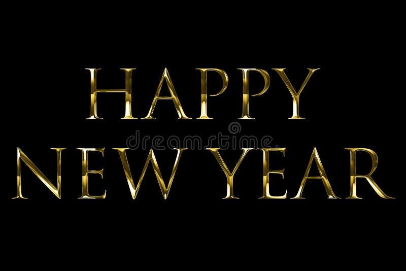Uitstekend geel gouden metaal gelukkig nieuw jaar 2018, 2019, 2020, 2021, het woordtekst van 2022 met lichte reflex op zwarte ach vector illustratie