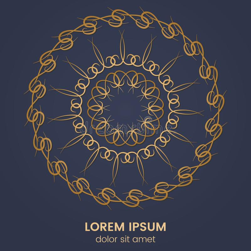 Uitstekend geometrisch cirkelelement Vector gouden monogram op donkerblauwe achtergrond royalty-vrije illustratie