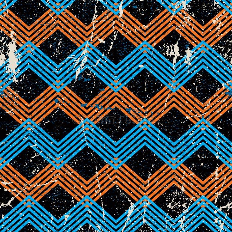Uitstekend geometrisch patroon met vuiltextuur, vector oude stijlbedelaars stock illustratie