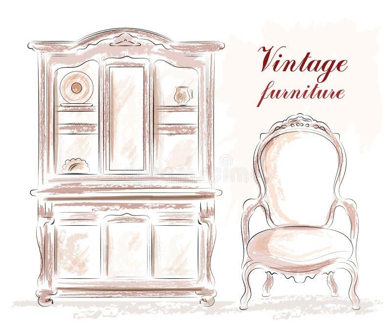 Uitstekend geplaatst meubilair: oude stijlkast en stoel schets stock illustratie