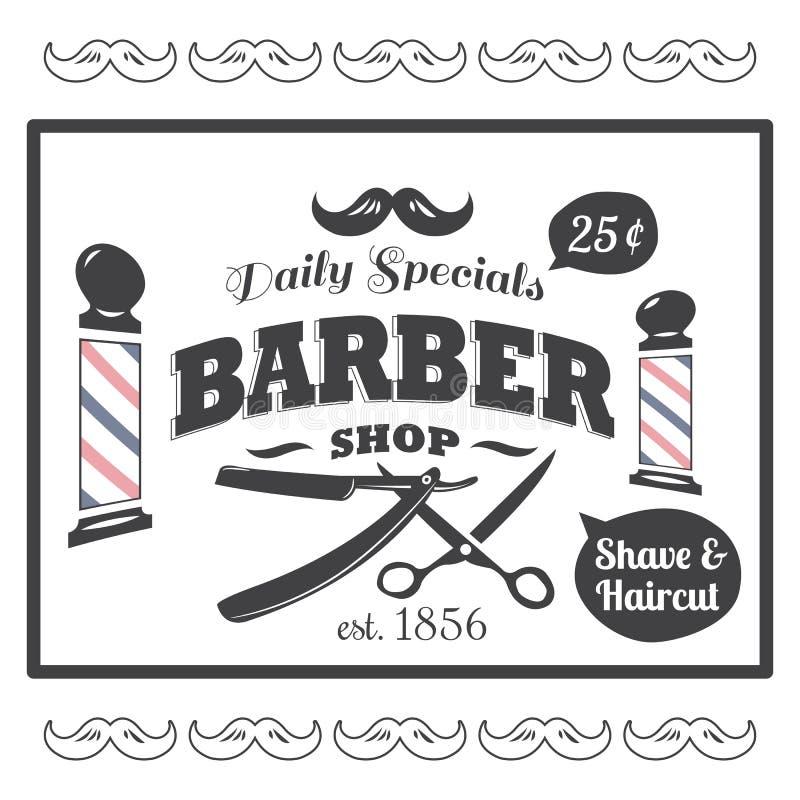 Uitstekend, gestileerd Barber Shop-embleem royalty-vrije illustratie