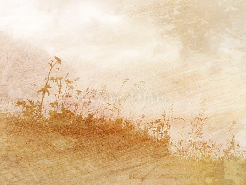Uitstekend geweven bloemen en gras als achtergrond stock afbeeldingen