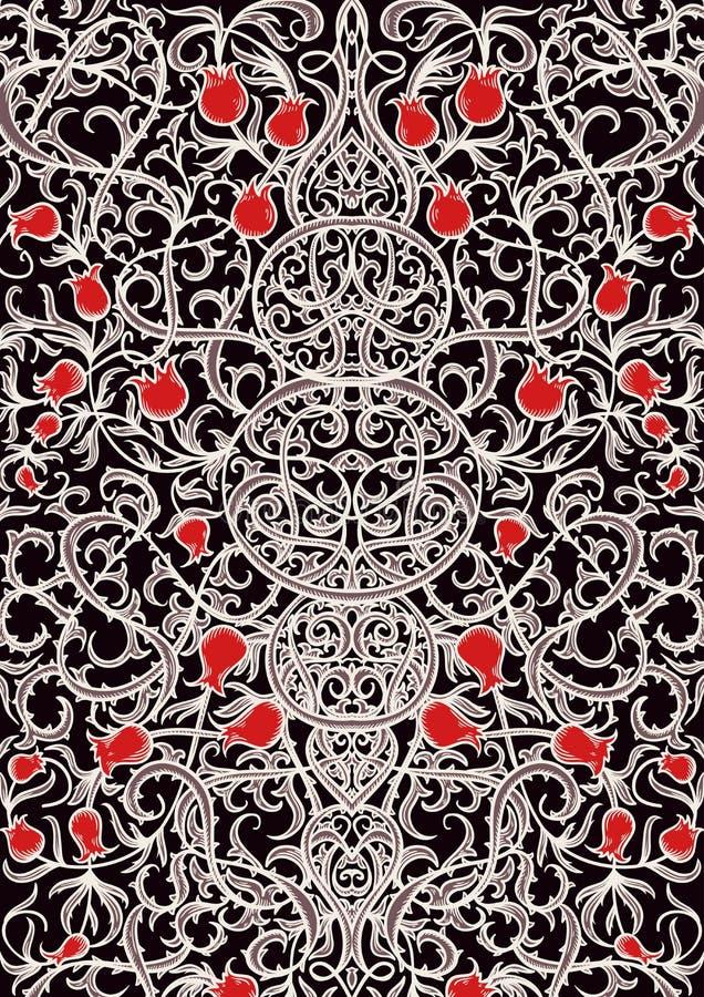 Uitstekend gotisch patroon met bloemenelementen Gegraveerde sierachtergrond royalty-vrije illustratie