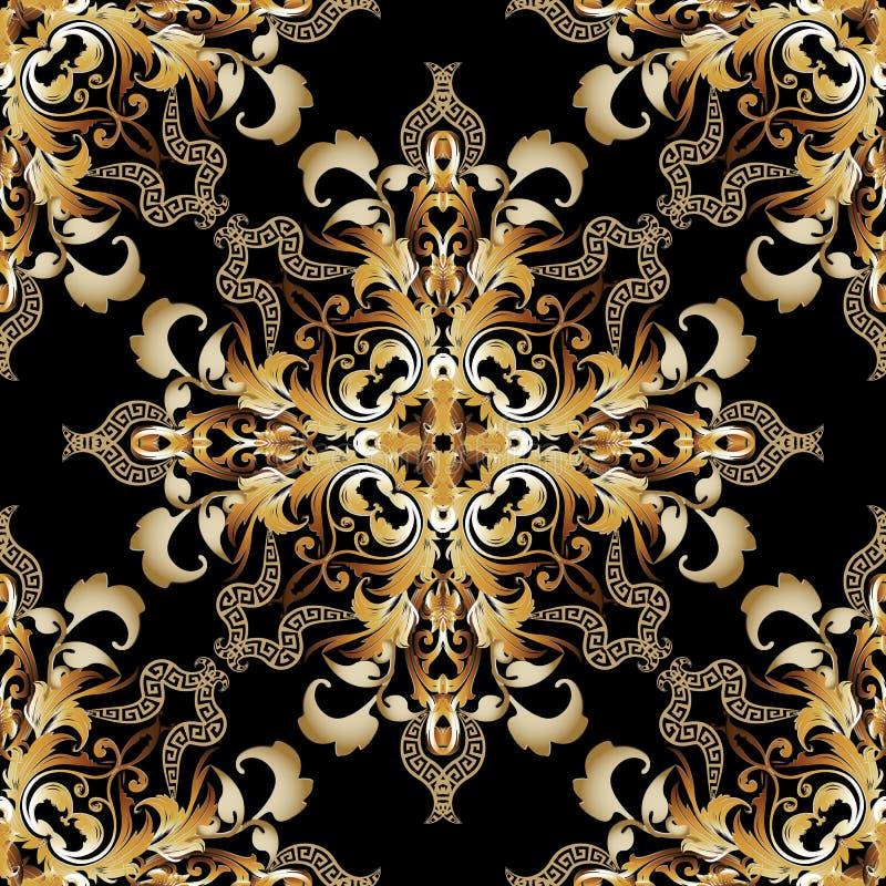 Uitstekend gouden Barok vector naadloos patroon Griekse sier oude stijl bloemenachtergrond Het damast herhaalt overladen achtergr royalty-vrije illustratie