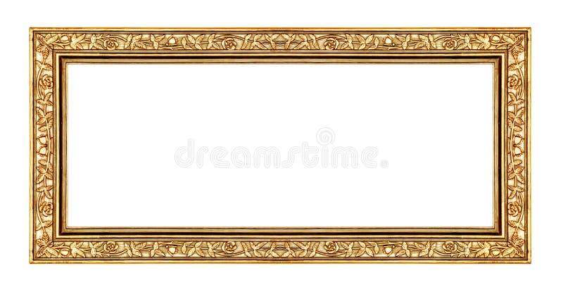 Uitstekend gouden die kader op witte achtergrond, met het knippen van weg wordt geïsoleerd royalty-vrije stock foto