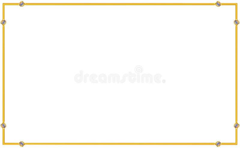 Uitstekend gouden eenvoudig kader E shining stock illustratie