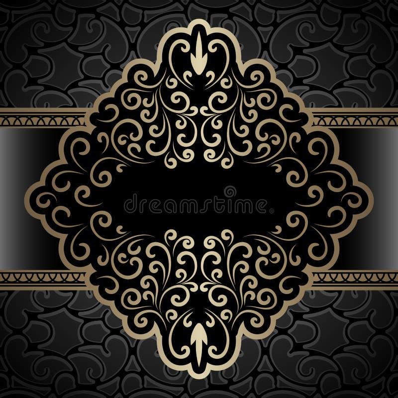Uitstekend gouden etiket, decoratief kader vector illustratie