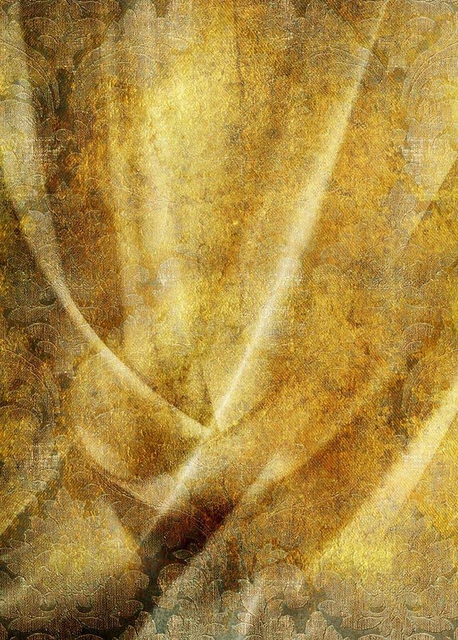 Uitstekend gouden gordijn stock illustratie