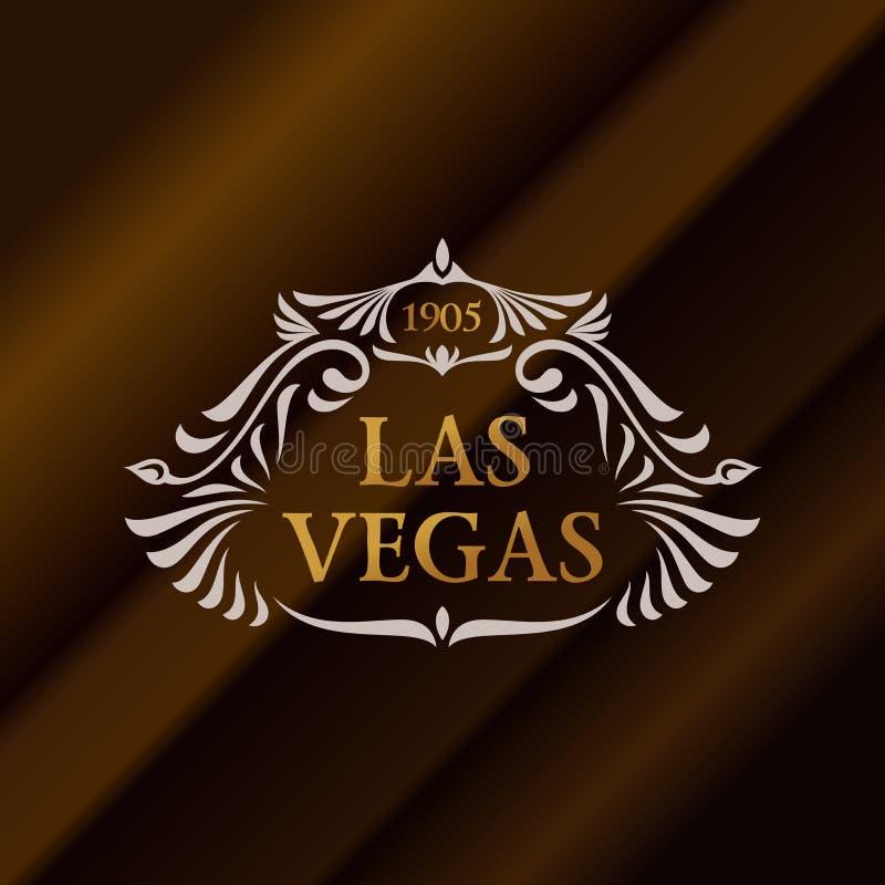 Uitstekend gouden hipsteretiket met het van letters voorzien Las Vegas Embleemmalplaatje voor uw teken, affiche, kleding, kenteke vector illustratie