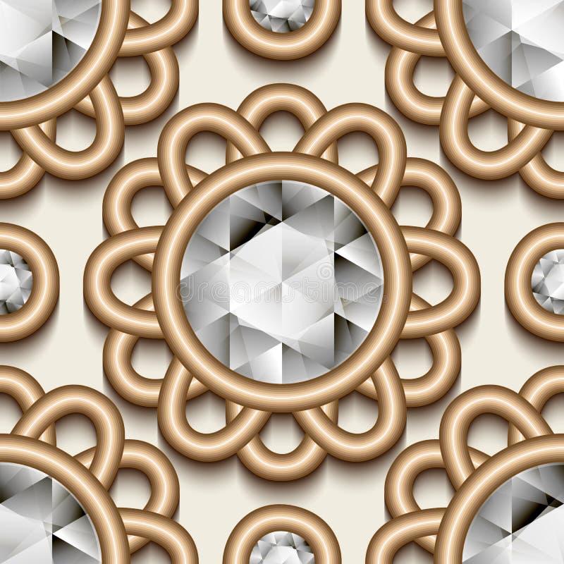 Uitstekend gouden juwelenpatroon royalty-vrije illustratie