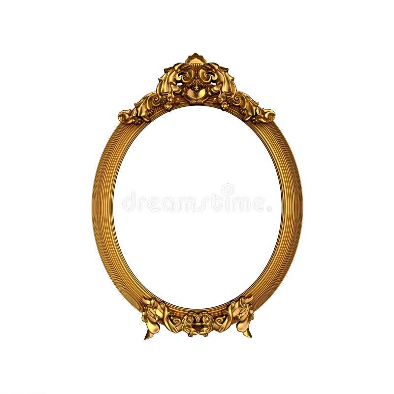Uitstekend gouden kader met lege ruimte stock foto