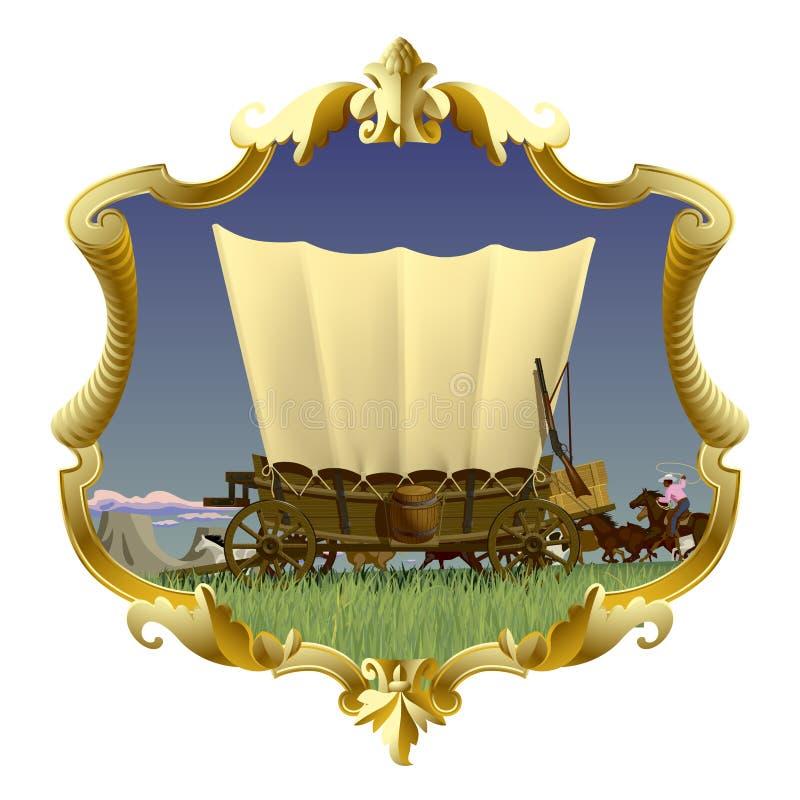 Uitstekend gouden kader met Wilde Westennen behandelde wagen in Amerikaanse prai stock illustratie
