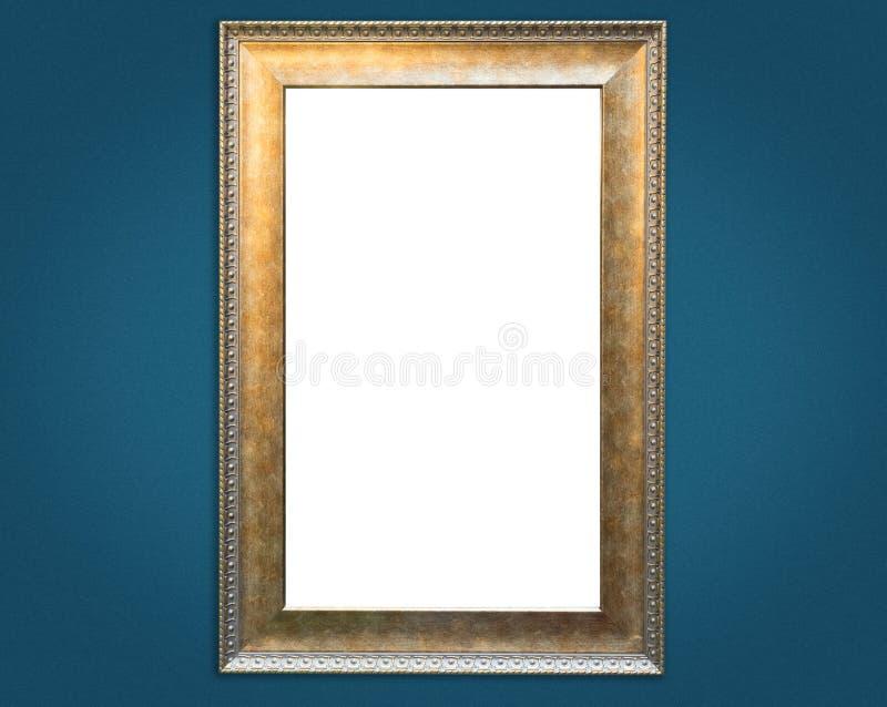 Uitstekend gouden kader op Blauwe muur royalty-vrije stock fotografie