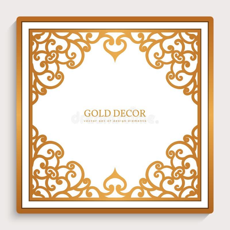 Uitstekend gouden vierkant kader stock illustratie