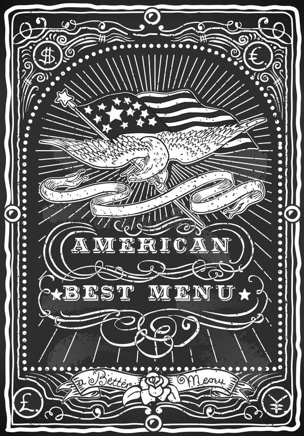 Uitstekend Grafisch Bord voor Amerikaans Menu royalty-vrije illustratie