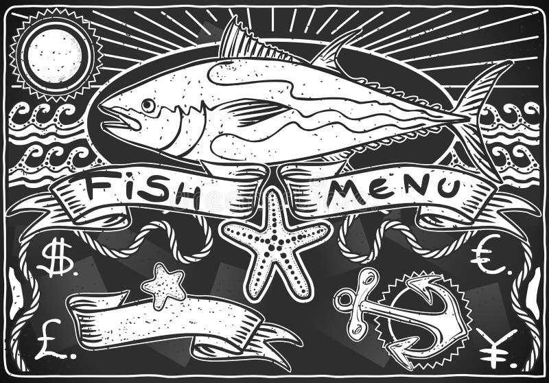 Uitstekend Grafisch Bord voor Vissenmenu vector illustratie
