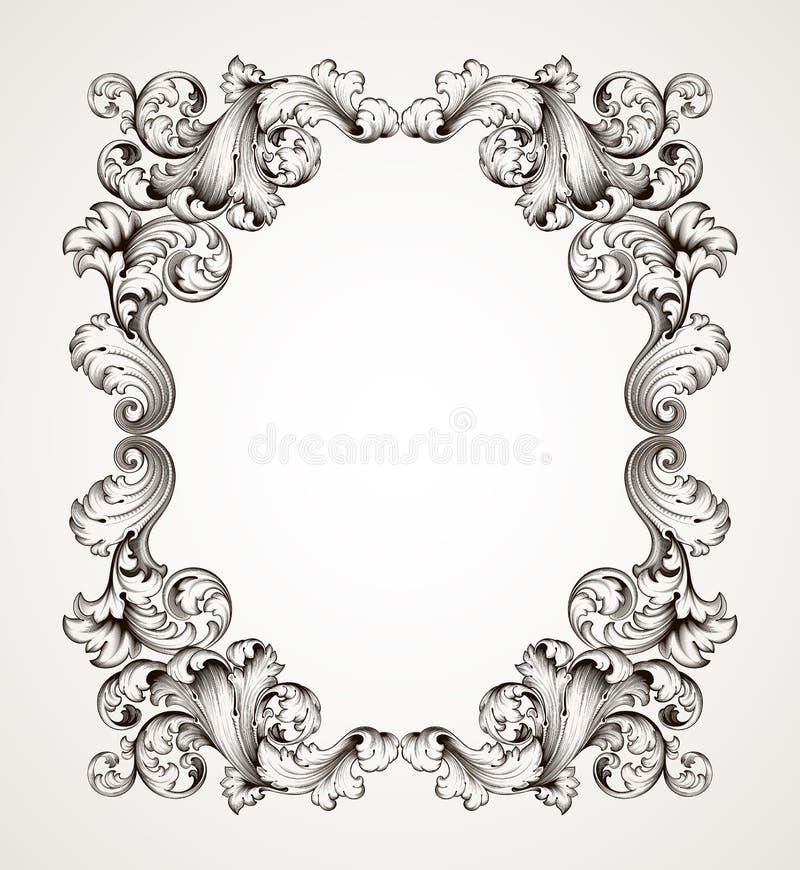 Uitstekend grensframe die barokke vector graveren royalty-vrije illustratie