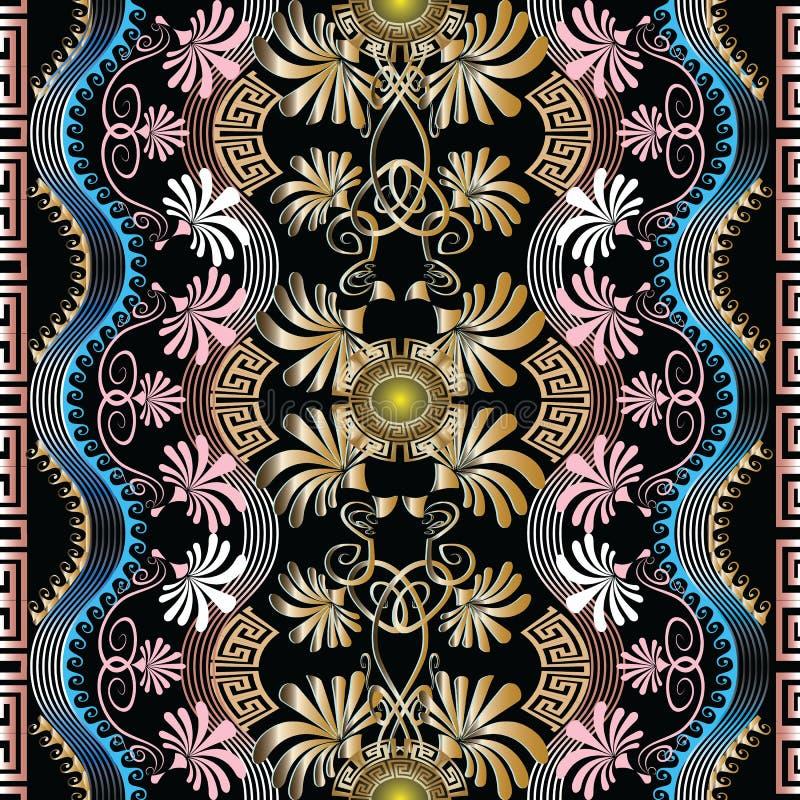 Uitstekend Grieks bloemen vector naadloos patroon Geometrische abstrac vector illustratie