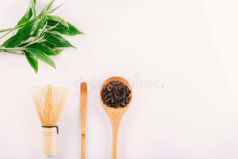 uitstekend Groen die theeblad op witte achtergrond wordt ge?soleerd stock foto