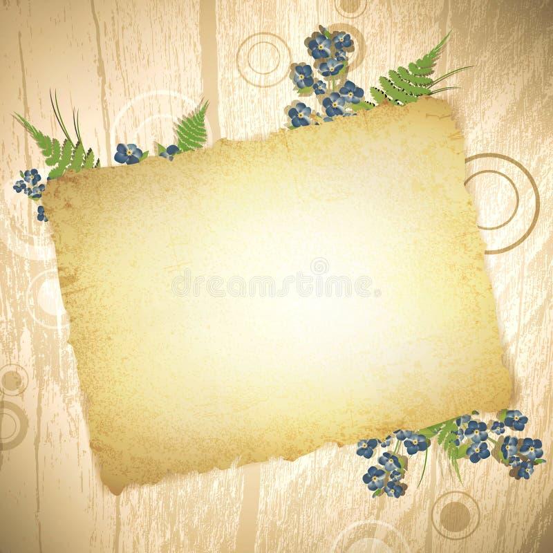 Uitstekend grungedocument bij houten achtergrond royalty-vrije illustratie