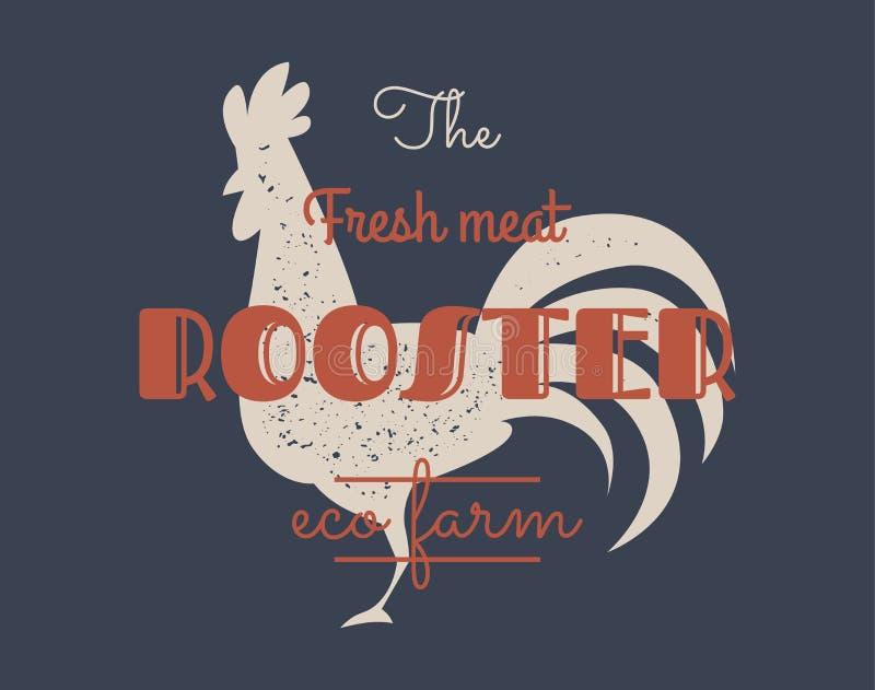 Uitstekend haanembleem voor zuivelfabriek en vleeszaken, slagerij, markt Malplaatje, zegel, kenteken, etiket met haan vector illustratie