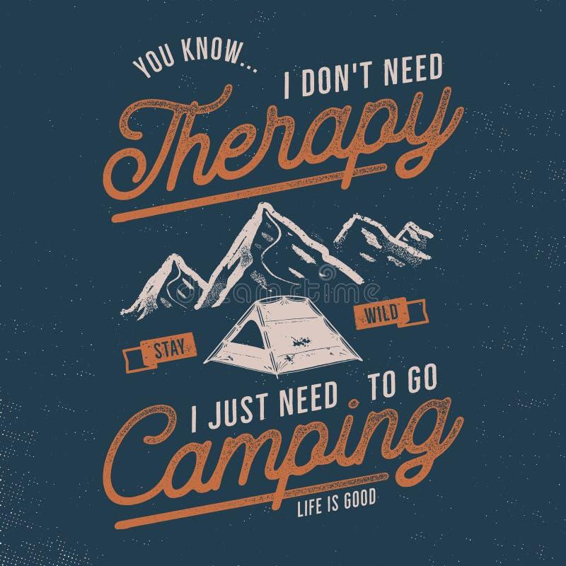 Uitstekend hand getrokken t-shirtontwerp Zwerflust, het kamperen thematische T-stukgrafiek Typografieaffiche met bergen en tent stock illustratie