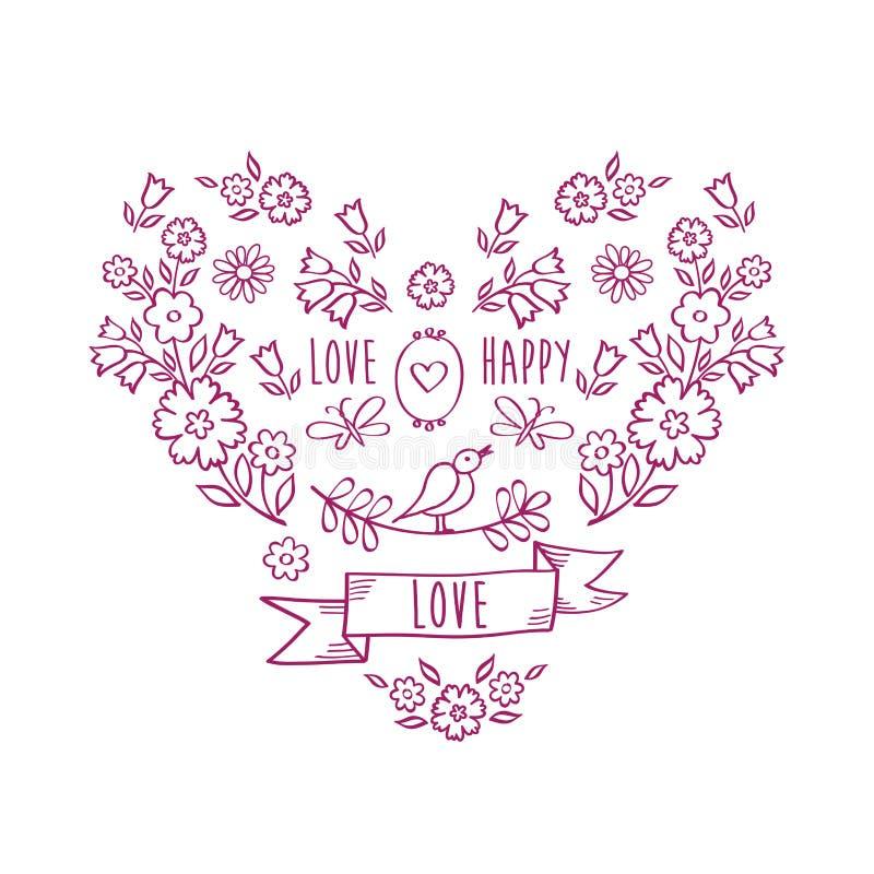 Uitstekend hart van bloemen Groetkaart met hand getrokken decoratieve bloemenelementen royalty-vrije illustratie