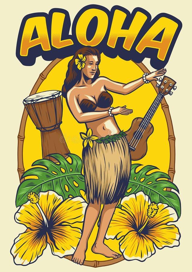 Uitstekend Hawaiiaans dansend meisje stock illustratie