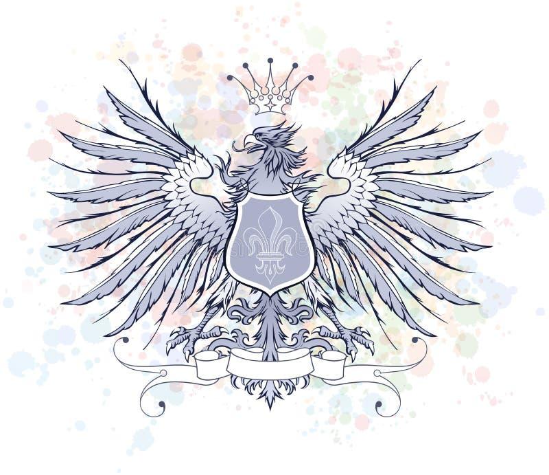 Uitstekend heraldisch embleem royalty-vrije illustratie