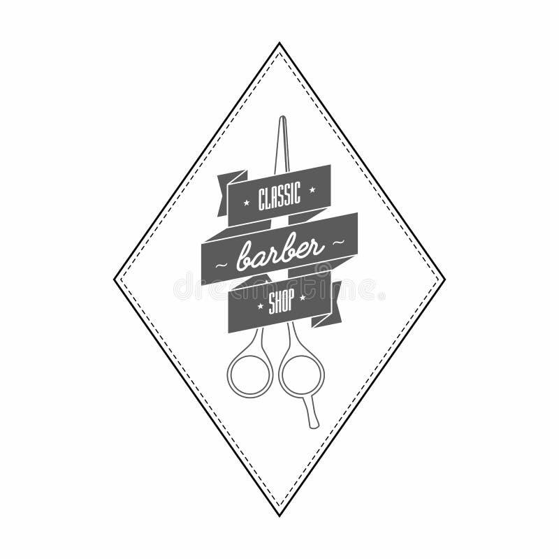 Uitstekend herenkapperembleem in grijze kleur Daarin het kappenschaar in een lint wordt verpakt dat Op het bandetiket royalty-vrije illustratie