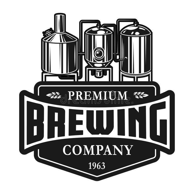 Uitstekend het etiketmalplaatje van de bierproductie vector illustratie