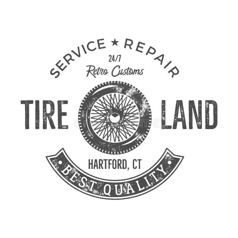 Uitstekend het etiketontwerp van de banddienst Retro embleem in zwart-wit retro stijl met vector oude wiel en typografieelementen stock illustratie