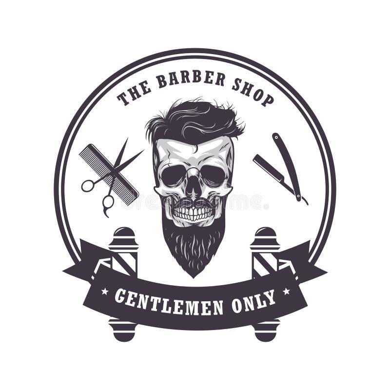Uitstekend het Ontwerpmalplaatje van schedelbarber shop logo retro Vector illustratie vector illustratie