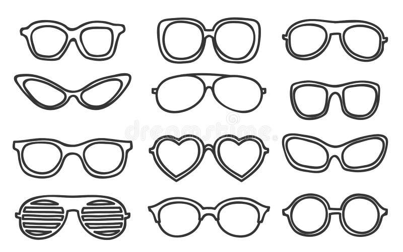 Uitstekend hipsterhand getrokken vector vastgesteld art. van pictogramglazen royalty-vrije illustratie