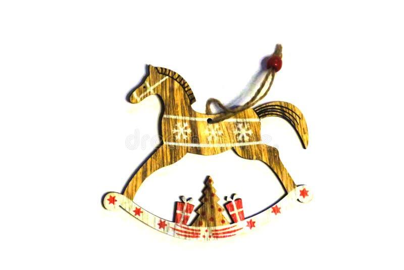 Uitstekend houten die stuk speelgoed paard op wit wordt geïsoleerd royalty-vrije stock afbeeldingen