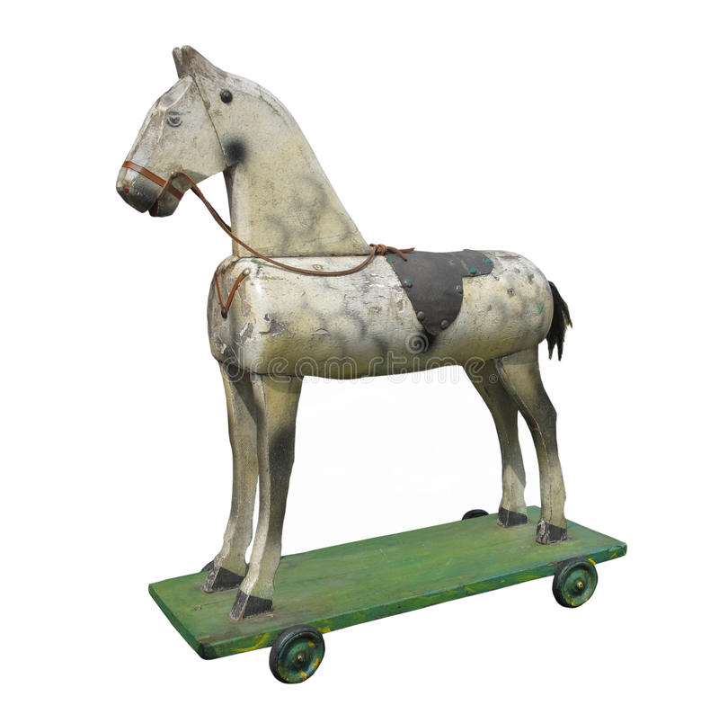 Uitstekend houten geïsoleerd hobbypaard. stock afbeelding