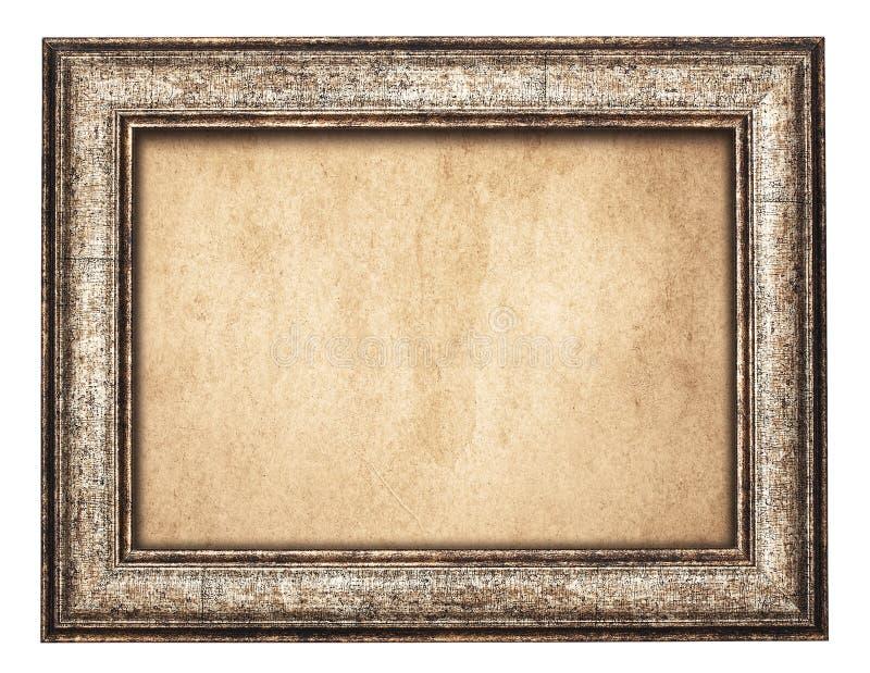 Uitstekend houten kader op oud document stock afbeelding