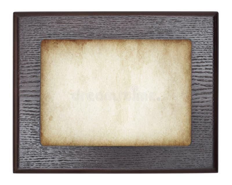 Uitstekend houten kader op oud document Vector royalty-vrije stock fotografie