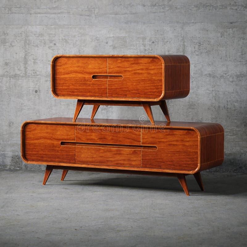 Uitstekend houten meubilair in concreet binnenland stock foto's