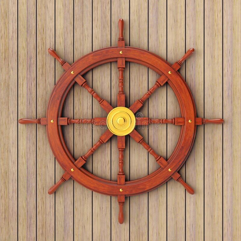 Uitstekend Houten Schipstuurwiel het 3d teruggeven vector illustratie