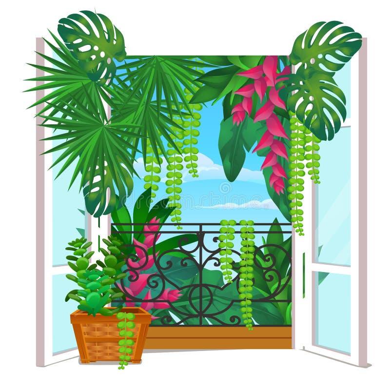 Uitstekend houten venster met ingemaakte die bloemen op de vensterbank op witte achtergrond wordt geïsoleerd Vectorbeeldverhaalcl vector illustratie