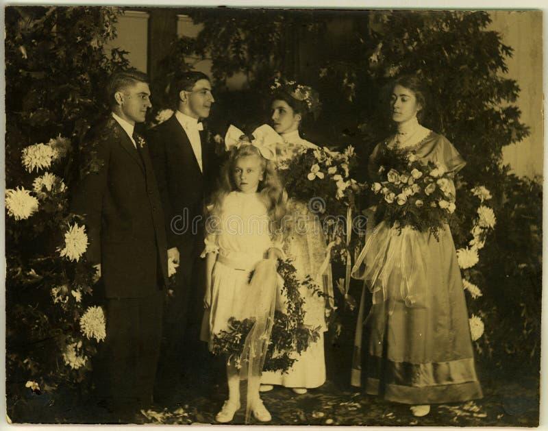 Uitstekend Huwelijk Circa 1915 stock afbeelding