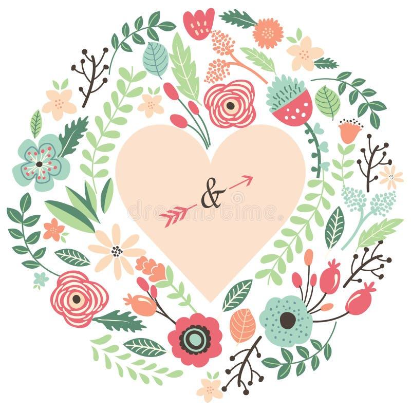 Uitstekend Huwelijk Flora Heart Shape royalty-vrije illustratie